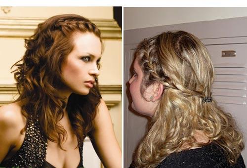 греческая косичка с волнистыми волосами, закрепленная под и над волосами