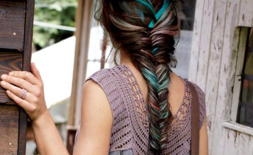 колосок на колорированных волосах