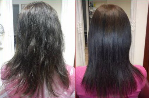 ламинирование волос:до и после
