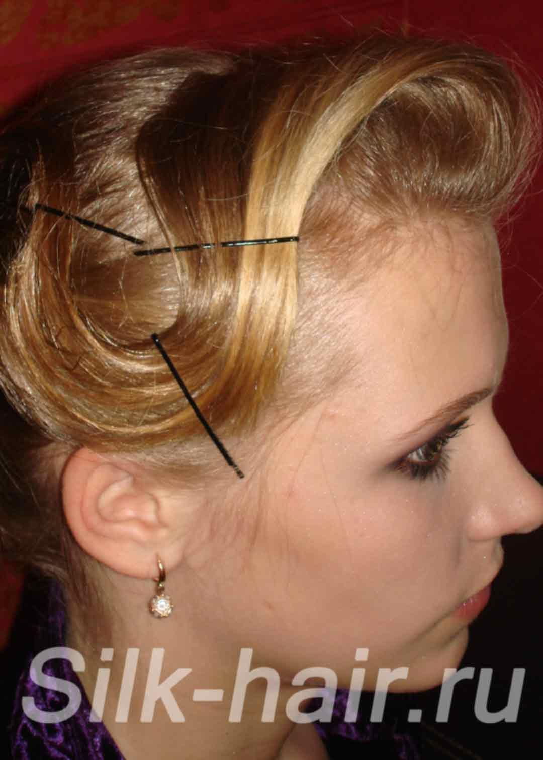 Прически с невидимками на средние волосы с челкой