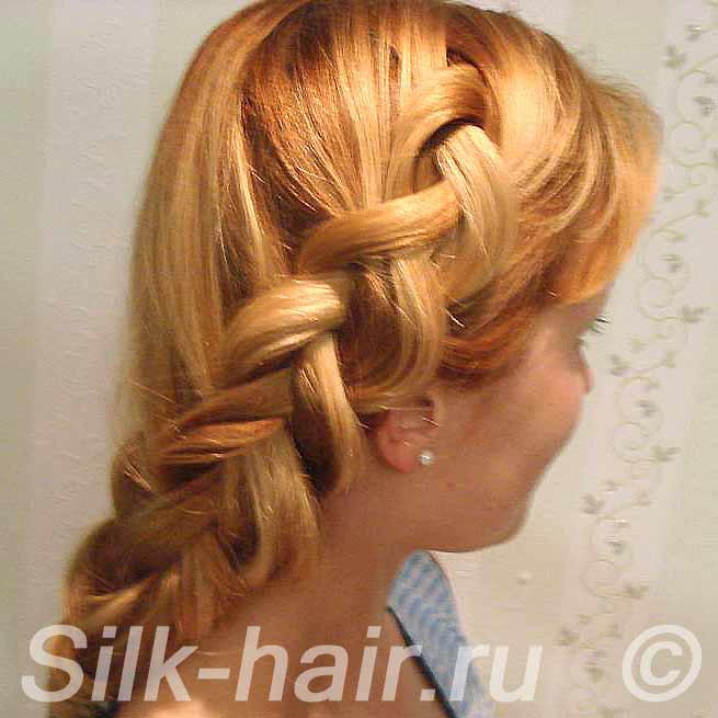 французская коса наоборот (наизнанку или вывернутая коса)