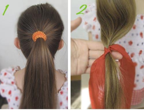 Несложные прически на длин.волосы для девочки6