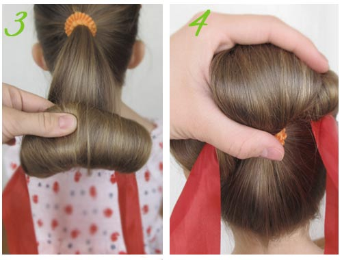 делаем пучок с ленточкой, скручивание волос