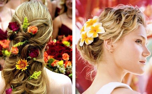 свадебные прически с живыми цветами
