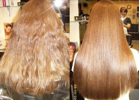 химическое выпрямление волос, результат ДО и ПОСЛЕ