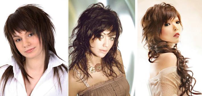 прическа каскад на средние с челкой волосы фото