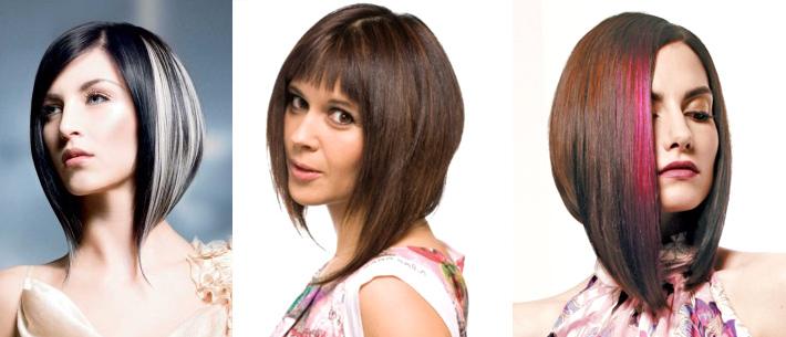 Стрижка каскад на средние волосы.  Каре может быть выполнено с челкой разных форм и длины либо без ее наличия.