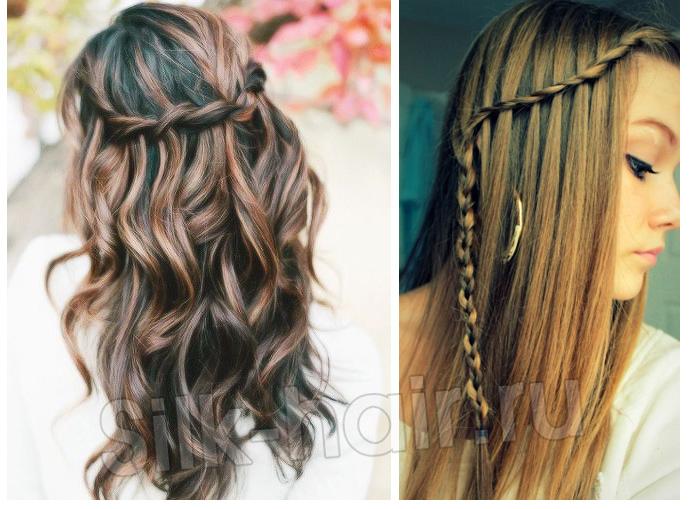 коса водопад со скручиванием